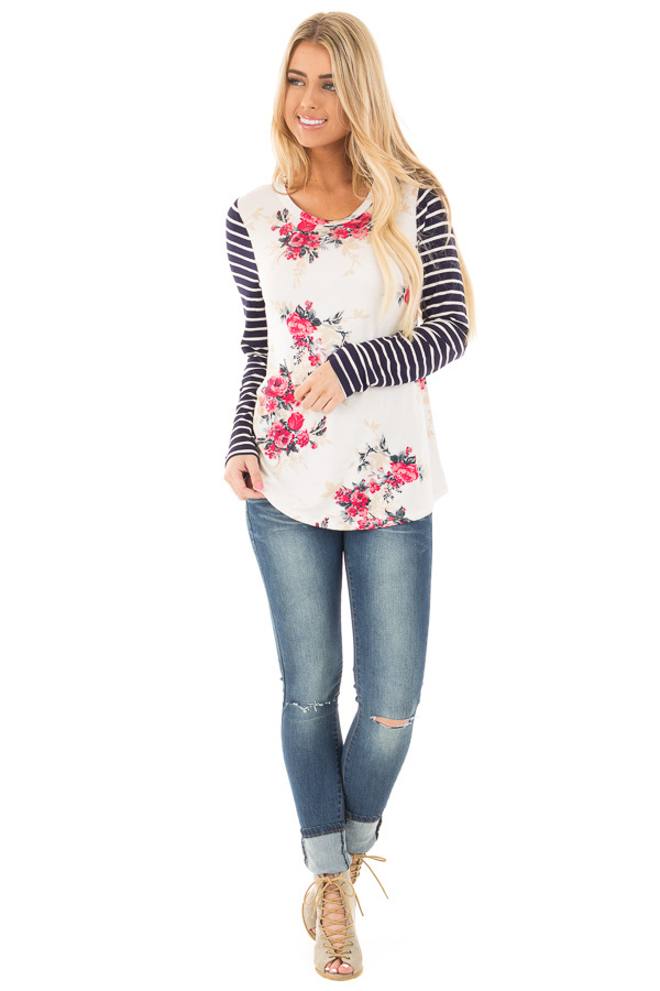 Ivory and Rose Floral Print Top with Striped Long Sleeves front full body