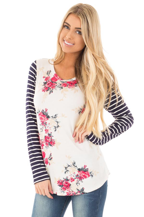 Ivory and Rose Floral Print Top with Striped Long Sleeves front close up