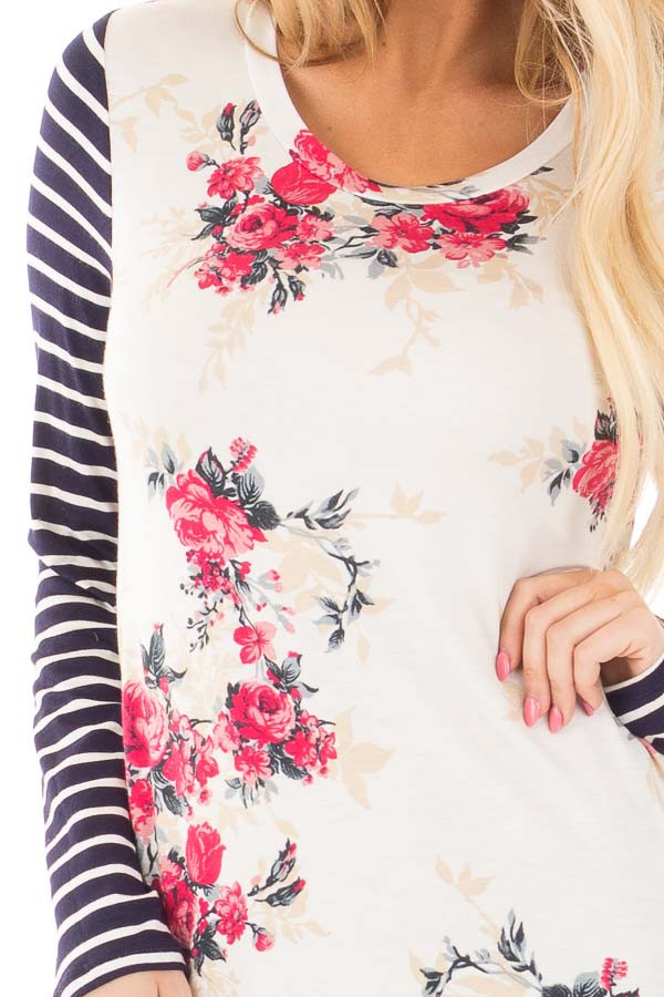 Ivory and Rose Floral Print Top with Striped Long Sleeves detail