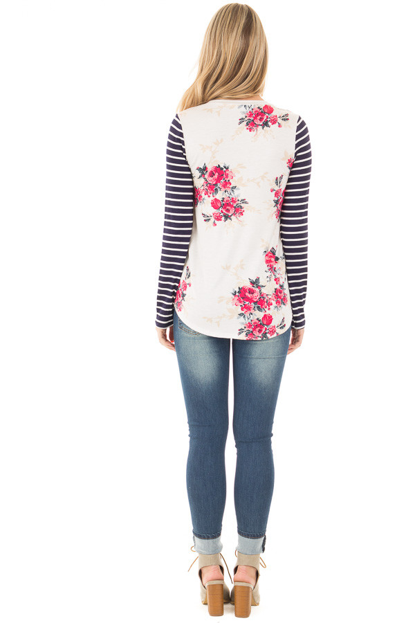 Ivory and Rose Floral Print Top with Striped Long Sleeves back full body