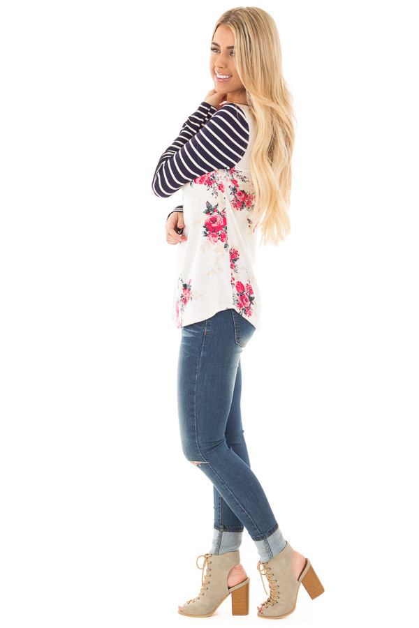 Ivory and Rose Floral Print Top with Striped Long Sleeves side full body
