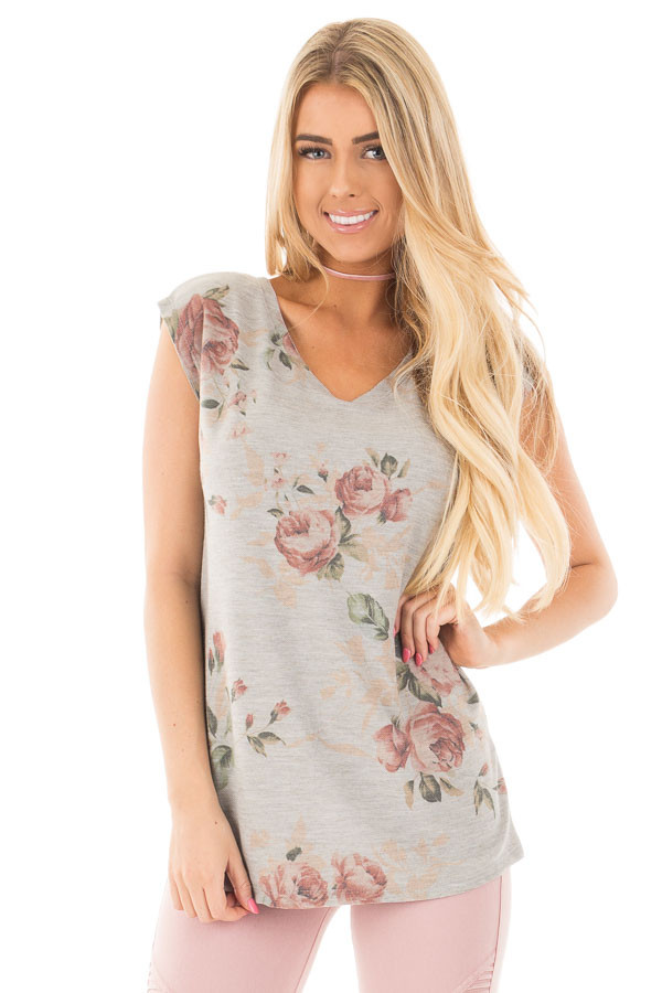 Grey V Neck Sleeveless Top with Rose Floral Print front close up