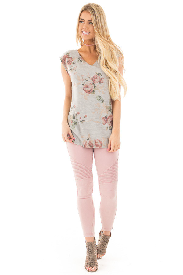 Grey V Neck Sleeveless Top with Rose Floral Print front full body