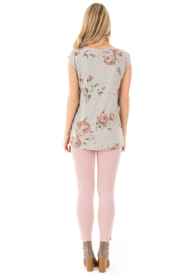 Grey V Neck Sleeveless Top with Rose Floral Print back full body