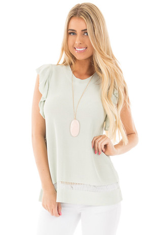 Pastel Mint Ruffle Sleeve Top with Crochet Bottom Detail front close up