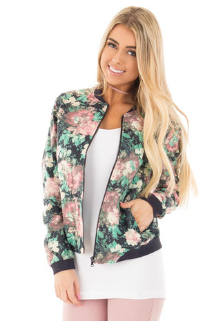 Navy Multi Floral Bomber Jacket front close up