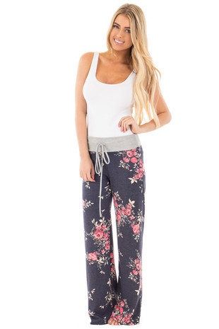 Navy Floral French Terry Pants with Heather Grey Contrast front full body