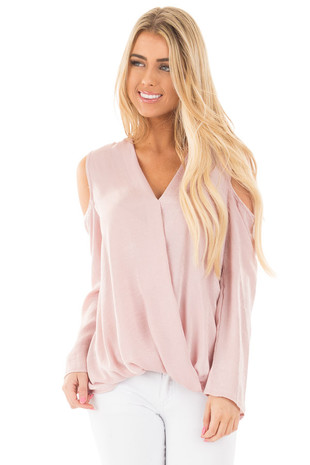 Dusty Pink Silky Cold Shoulder Crossover Drape Blouse front full body