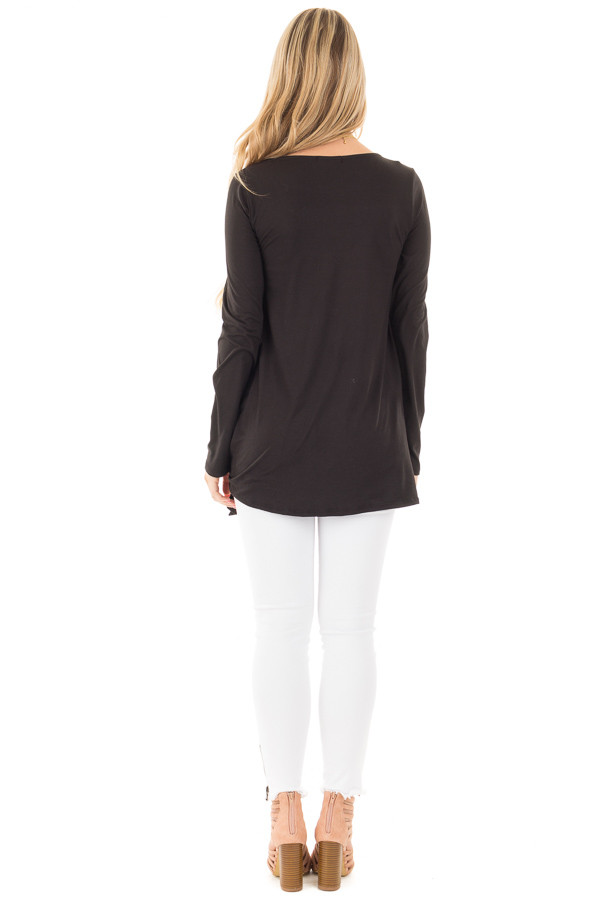 Black Soft Knit Long Sleeve Top with Tie Detail in Front back full body