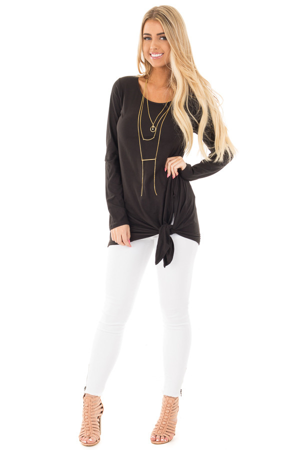 Black Soft Knit Long Sleeve Top with Tie Detail in Front front full body