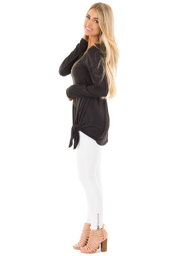 Black Soft Knit Long Sleeve Top with Tie Detail in Front side full body