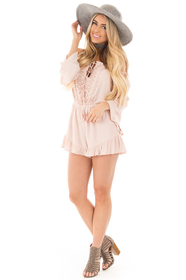 Blush Off the Shoulder Romper with Crochet and Tassel Detail front full body