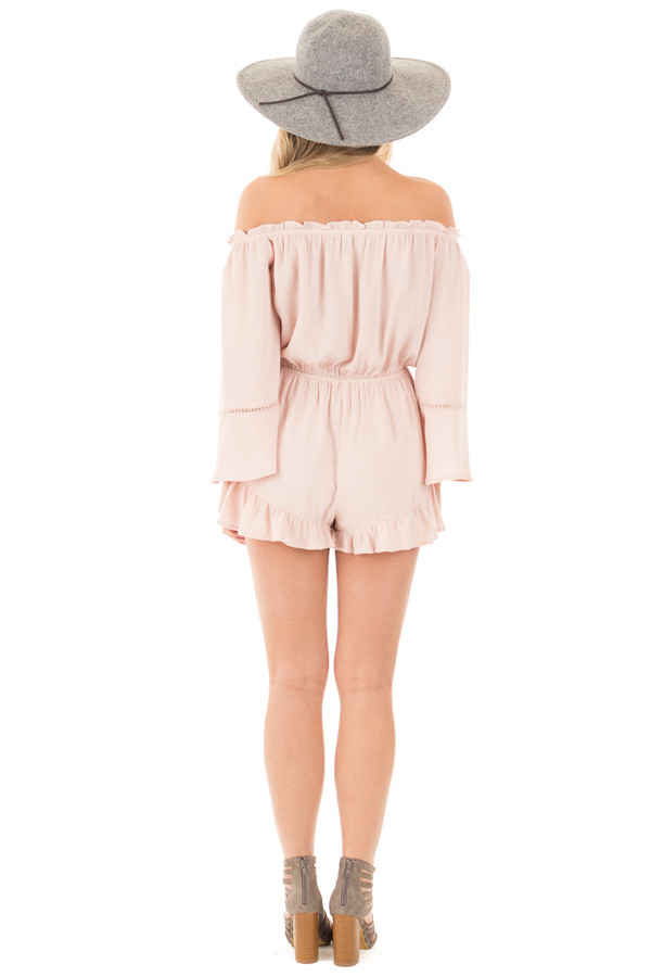 Blush Off the Shoulder Romper with Crochet and Tassel Detail back full body