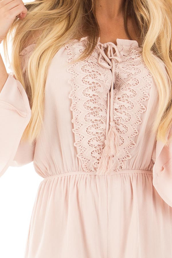 Blush Off the Shoulder Romper with Crochet and Tassel Detail detail