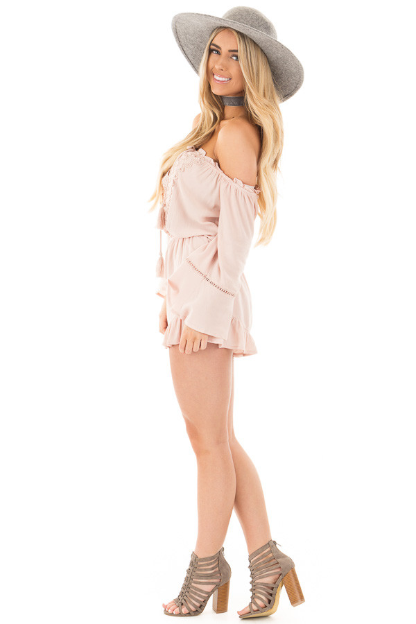 Blush Off the Shoulder Romper with Crochet and Tassel Detail side full body
