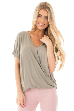 Smokey Green Crossover Drape Style Tee with Cuffed Sleeves front close up