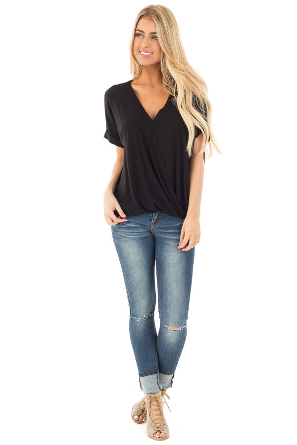 Black Crossover Drape Style Tee with Cuffed Sleeves front full body