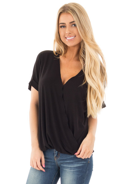 Black Crossover Drape Style Tee with Cuffed Sleeves front close up