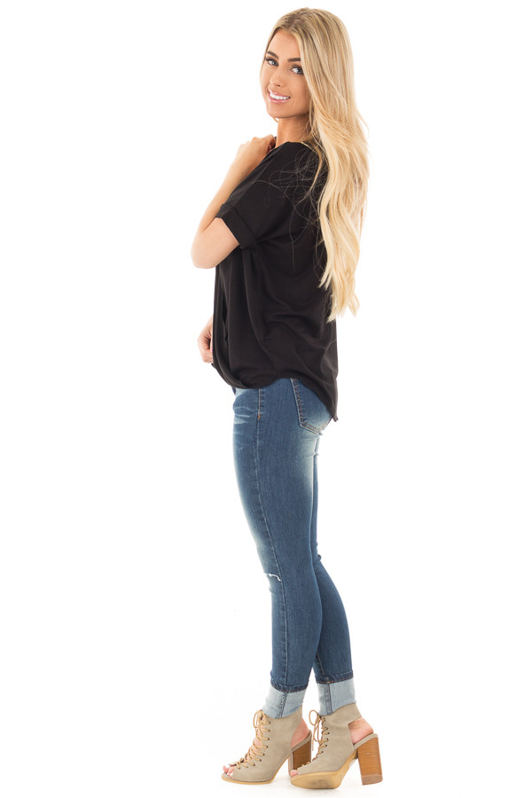 Black Crossover Drape Style Tee with Cuffed Sleeves side full body