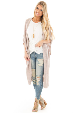 Dusty Rose Two Tone Half Sleeve Kimono Sweater Cardigan front full body
