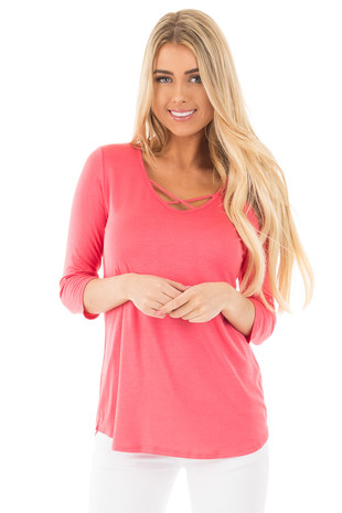 Coral 3/4 Sleeve Top with Criss Cross Neckline Detail front close up