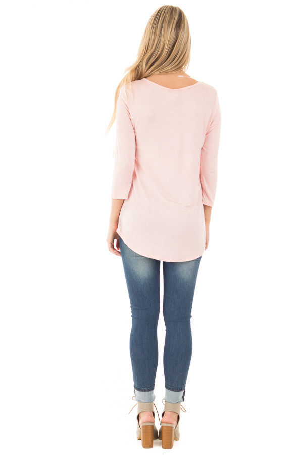 Blush  3/4 Sleeve Top with Criss Cross Neckline Detail back full body
