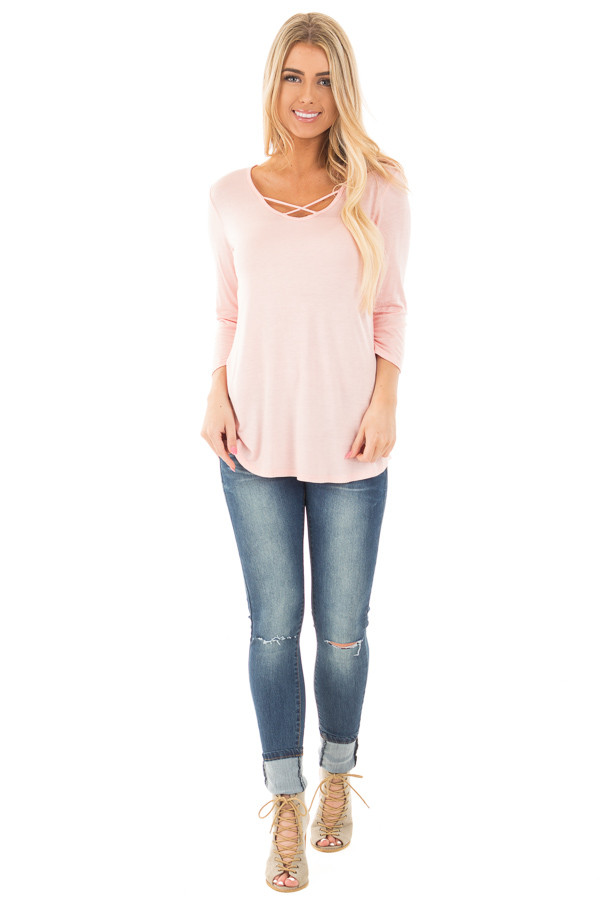 Blush  3/4 Sleeve Top with Criss Cross Neckline Detail front full body