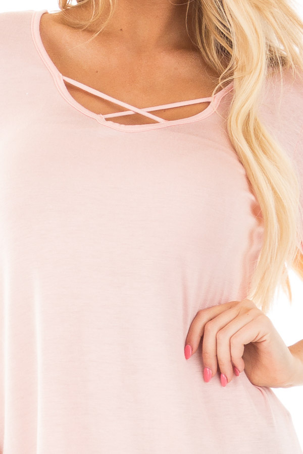 Blush  3/4 Sleeve Top with Criss Cross Neckline Detail detail