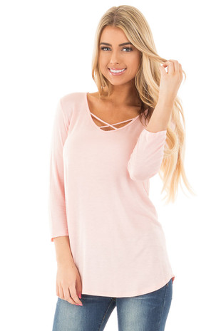 Blush  3/4 Sleeve Top with Criss Cross Neckline Detail front close up
