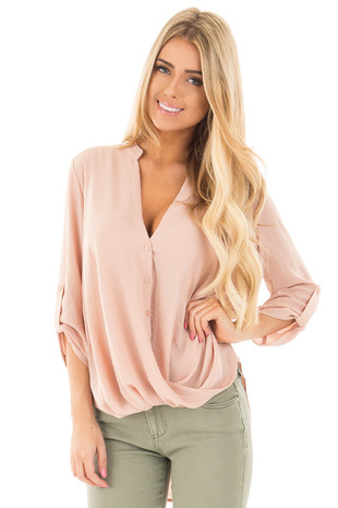 Taupe Crossover Drape Front Blouse with 3/4 Roll Up Sleeves front close up