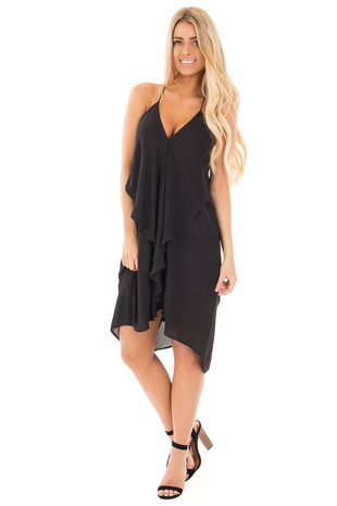 Black Chiffon Draped Tunic with Halter V Neck front full body