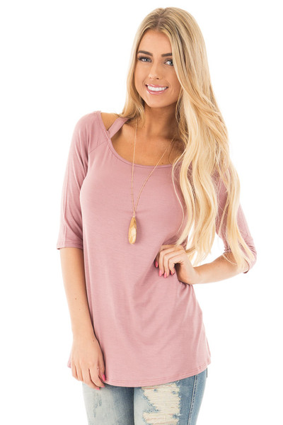 Mauve 3/4 Sleeve Halter Tunic Top with Criss Cross Back front close up