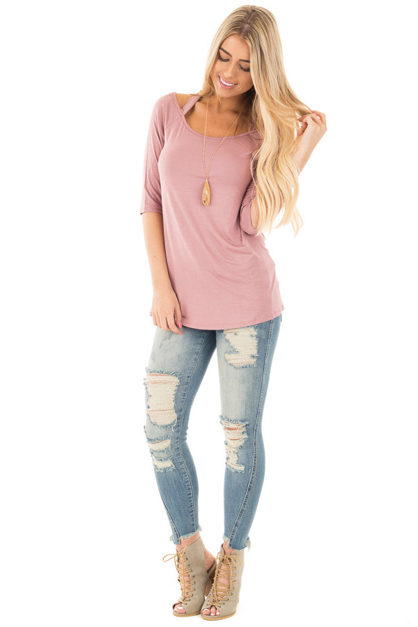 Mauve 3/4 Sleeve Halter Tunic Top with Criss Cross Back front full body