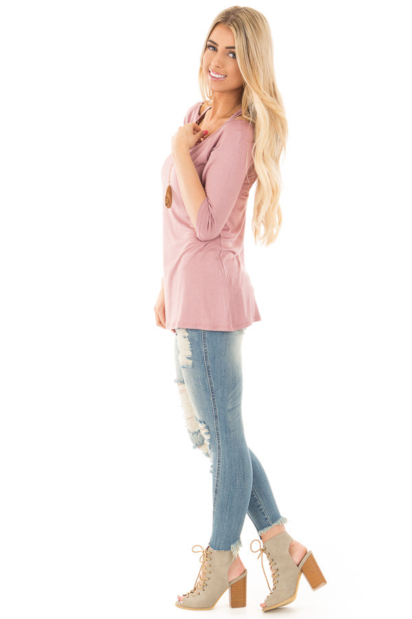 Mauve 3/4 Sleeve Halter Tunic Top with Criss Cross Back side full body