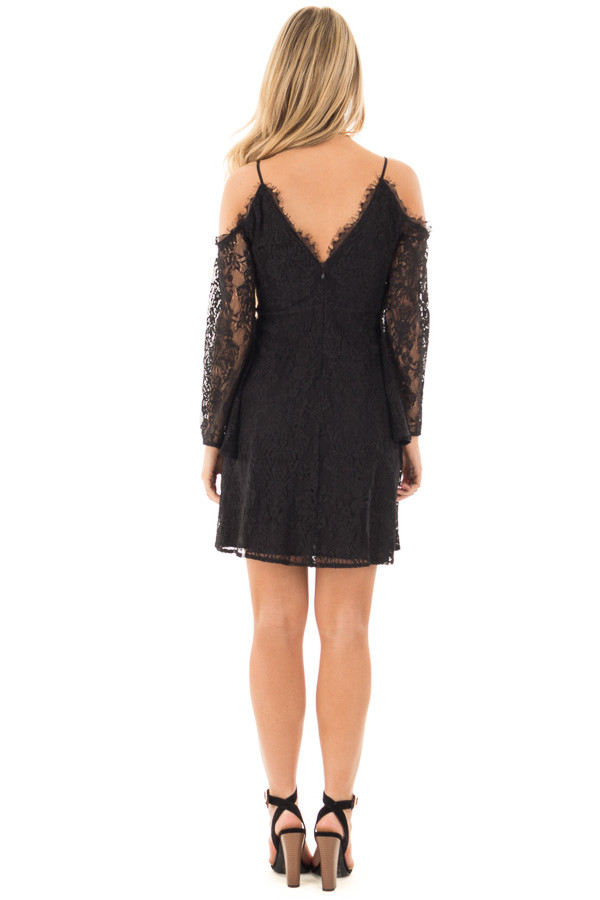 Black Lace Cold Shoulder Dress with Sheer Lace Sleeves back full body