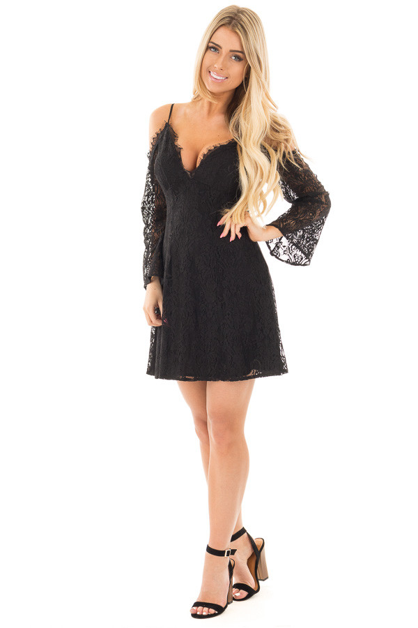 Black Lace Cold Shoulder Dress with Sheer Lace Sleeves front full body