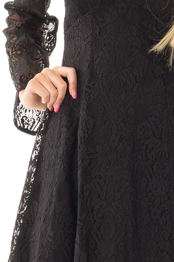 Black Lace Cold Shoulder Dress with Sheer Lace Sleeves detail
