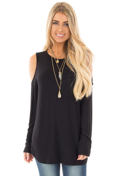 Black Cold Shoulder Top with Criss Cross Back Detail front close up