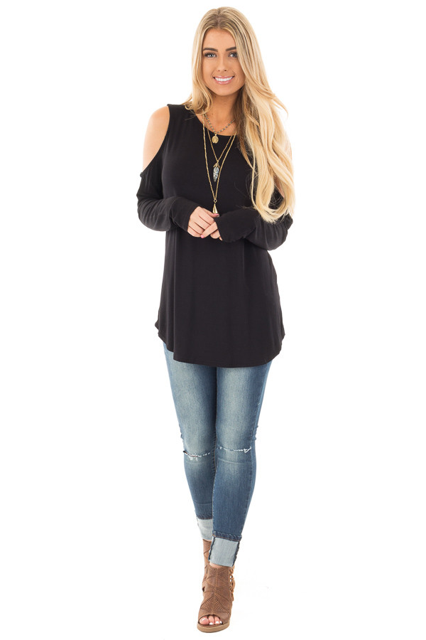 Black Cold Shoulder Top with Criss Cross Back Detail front full body