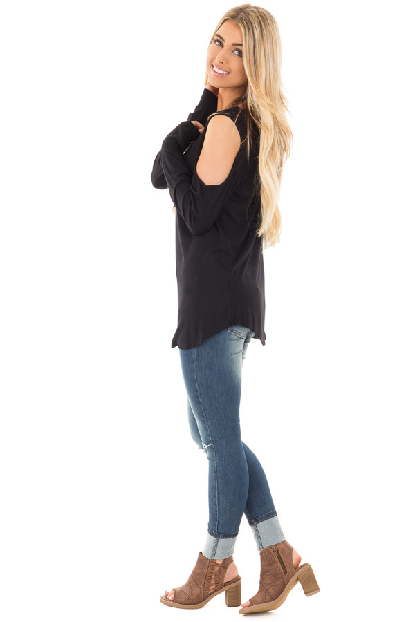 Black Cold Shoulder Top with Criss Cross Back Detail side full body