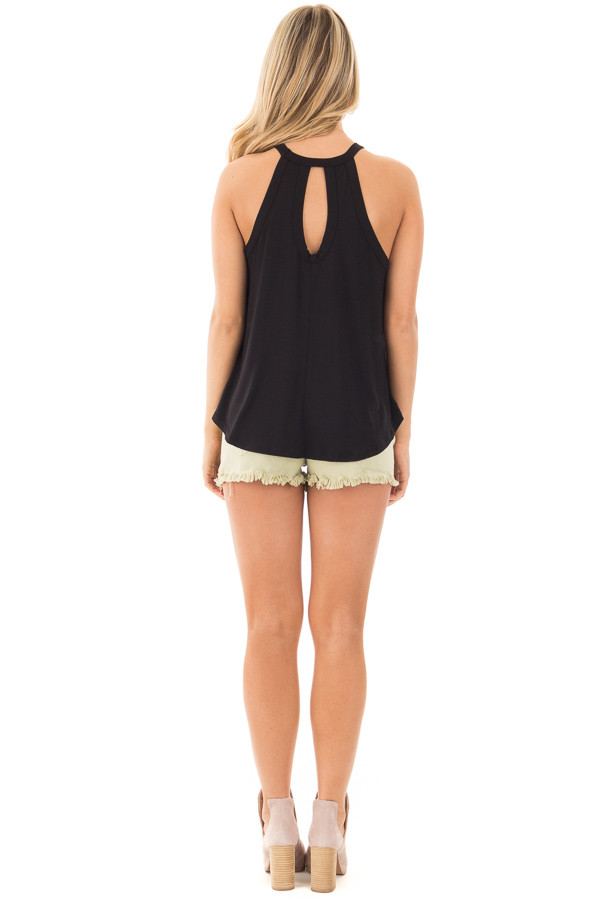 Black Knit Tank Top with Key Hole Back Detail back full body