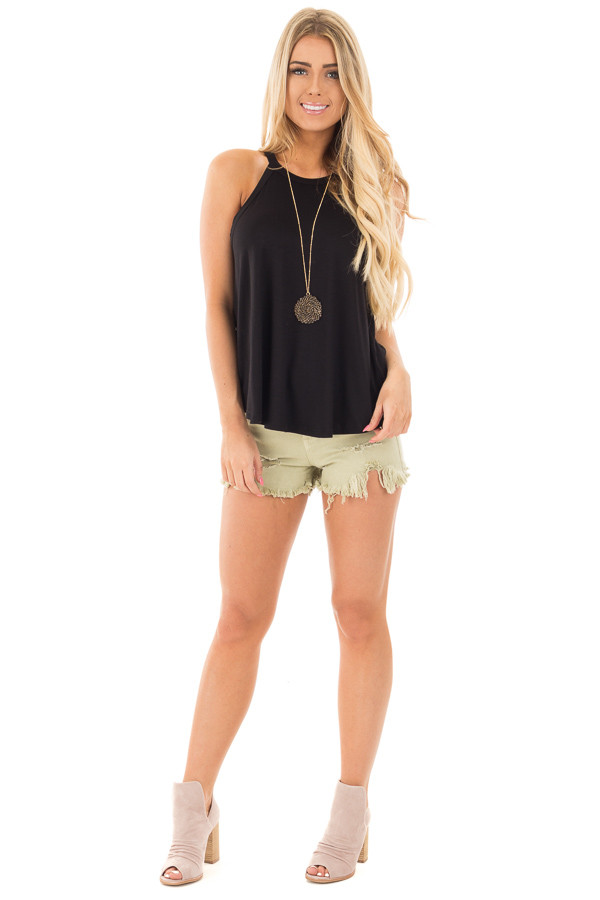 Black Knit Tank Top with Key Hole Back Detail front full body