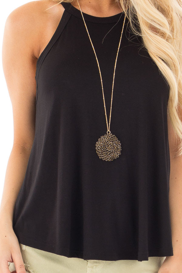 Black Knit Tank Top with Key Hole Back Detail detail