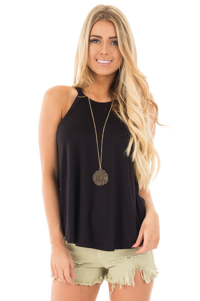 Black Knit Tank Top with Key Hole Back Detail front close up