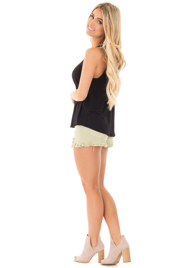 Black Knit Tank Top with Key Hole Back Detail side full body