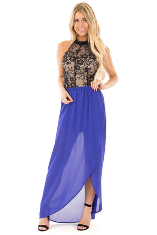 Royal Blue Chiffon Maxi Skirt with Draped Front front full body