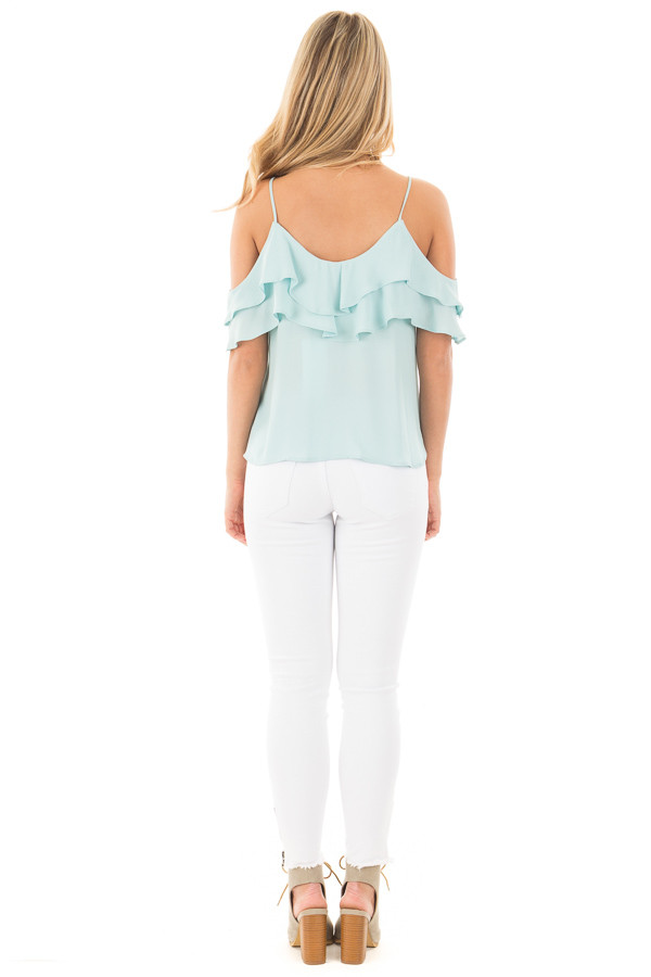 Blue Mint Chiffon Cold Shoulder Tank with Ruffle Details back full body