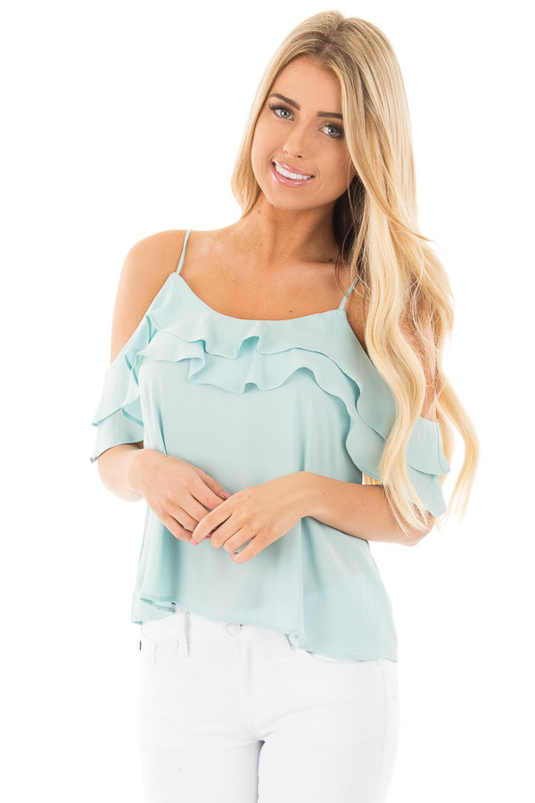Blue Mint Chiffon Cold Shoulder Tank with Ruffle Details front close up