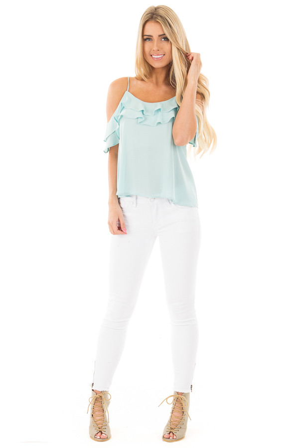 Blue Mint Chiffon Cold Shoulder Tank with Ruffle Details front full body
