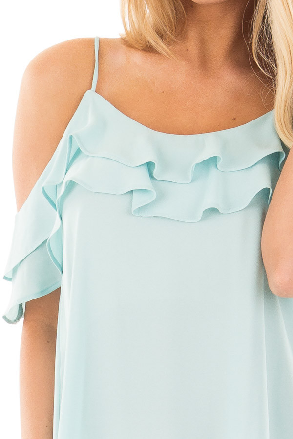 Blue Mint Chiffon Cold Shoulder Tank with Ruffle Details detail